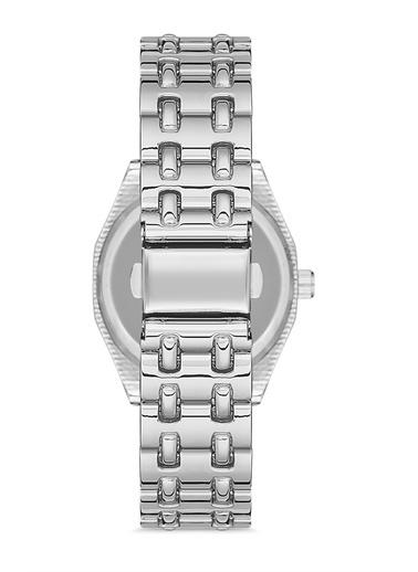 Madamra Metal Kordon Taşlı Kol Saati Gümüş